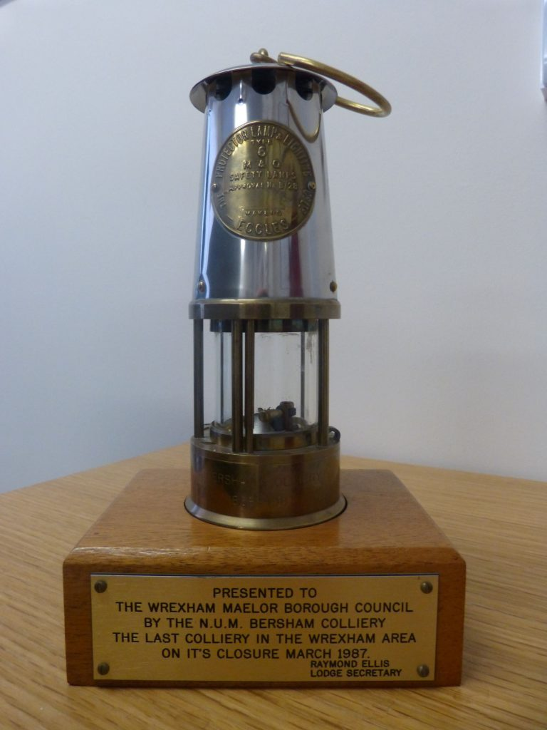 A lamp to commemorate Bersham Colliery