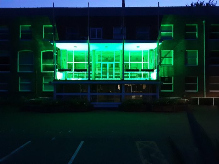 Guildhall balcony lit green for Recycle Week 2020