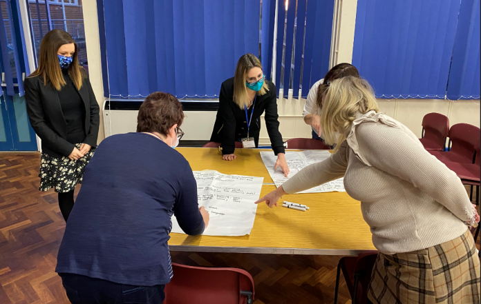 Teaching staff at Ysgol Clywedog during a training session. Far left to right: Andrea Francis (standing), Leah Davidson, Melissa Flanagan, Alexandra Owens and Catherine Hughes.