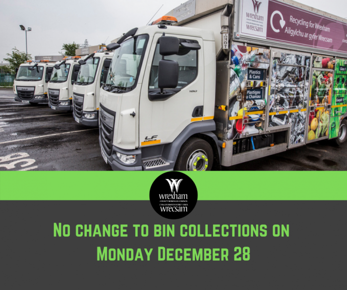 No change to bin collections on Monday December 28