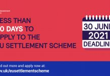 Less than 50 days to apply to EU settlement scheme